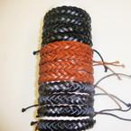 Popular Teen Leather Bracelet Braided Style Brwons & Black .54 ea