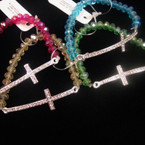 Crystal Beaded Stretch Bracelet w/ Silver Crystal Stone Cross .54 ea