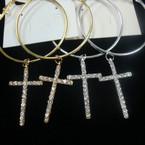 """2"""" Gold & Silver Hoop Earrings w/ Dangle Crystal Stone Cross .54 ea"""
