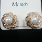 "1"" Gold Classic Earring w/ White Pearl  .50 ea"