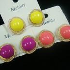 "1"" Swirl Gold Classic Earring w/ Colored Beads  .50 ea"