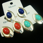 """1.25"""" Brushed Gold Oval Earring w/ Colored Bead  .50 ea"""