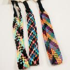 Trendy Tweed Multi Color Pattern Headband w/ Elastic Back .54 ea