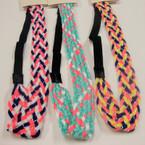 Trendy Multi Color Pattern Silver Thread Headband w/ Elastic Back .54 ea