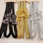 3 Pack Glitter Stretch Elastic Band Headbands w/ Bow 3 colors .54 per set