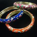 Cloisonne Look Epoxy Hinged Bangle Bracelet w/ Butterfly Asst Colors .56 ea
