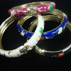 Cloisonne Look Epoxy Hinged Bangle Bracelet w/ Mixed Styles Asst Colors .56 ea