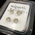 2 Pair 5MM Silver w/ Crystal Stone Magnetic Earrings .54 per set