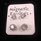 2 Pair 5 & 8MM Silver w/ Crystal Stone Magnetic Earrings .54 per set