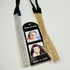 Trendy Gold/Silver 3 Line Crystal Stone Headband .54 ea