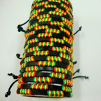 2 Strand Black Leather Bracelet w/ Wrapped Rasta Color Cord .54 ea