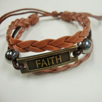 FAITH Leather Multi Strand Bracelet .54 ea