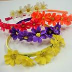 Asst Color Satin Headbands w/ Flowers .50 ea