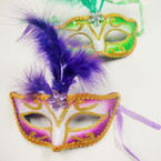 Fashionable Party Mask w/ Feathers Handpainted Asst Colors ONLY .60 ea