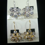 Gold & Silver Euro Wire Earring Flower Style w/ Crystals .50 ea