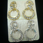 Fashionable Gold & Silver Crystal Stone Earring DBL Circles .54 ea