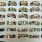 Jesus Picture Stainless Band Ring  36 pc unit .25 ea