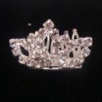 "1.5"" Rhinestone Silver Tiara Comb All Clear Rhinestones Heart Style .50 ea"