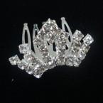 "1.5"" Rhinestone Silver Tiara Comb All Clear Rhinestones (307) .50 ea"