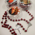 "36"" All Red Wood Bead Scented Rosary w/ Silver Cross w/ JESUS in Keepstake Box"