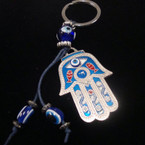 Evil Eye Hamsa Keychain w/ Dangle Cord & Beads .54 ea