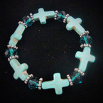 Turquoise Stone Cross Stretch Bracelet w/ Crystal Beads .54 EA