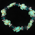 Stone Turquoise Stretch Turtle Bracelet w/ Crystal Beads .54 ea
