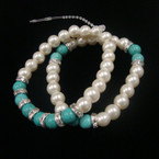 2 Pack Glass Pearl Stretch Bracelet w/ Turquoise Bead & Crystal Disc .54 per set