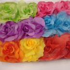 "5"" Gradiant  Colorful Silk Flower Bow w/ Chiffon 3 in 1 Use .54 ea"