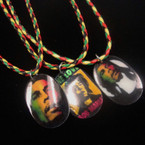 "16""-18"" Braided Rasta Color Cord Necklace w/ Oval Ceramic Pendant .54 ea"