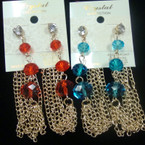 "3"" Gold Multi Chain Earring w/ Crystal Beads & Clear Stone  .45 ea"