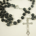 "36"" All Black Color Wood Bead Rosary w/ Silver Cross w/ JESUS .54 ea"