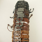 Teen Leather Bracelet w/ Mixed Style Silver Crosses .54 ea