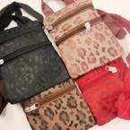 "4.5"" X 5.5"" Cheetah Print Long Strap 2 Zipper Side Bag .56 ea"