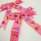 "4"" X 4"" Ice Cream Party Theme Gator Clip Bows 24 per pk .28 ea"