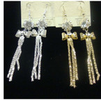 "3"" Gold & Silver Multi Chain Earring w/ Bow & Crystals .54 ea"