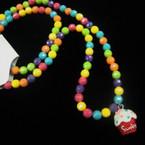 Kid's Multi Color Beaded Necklace & Bracelet Set w/ Cupcake Charm .50 ea