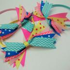 "Cute Satin Headband w/ 5"" Multi Pattern Ribbon Bow .52 ea"