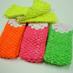 "3 Pack 2.5"" Crochet Hot Neon Color Stretch Headwraps"
