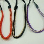 Trendy Asst Color Braid Headband w/ Rhinestones Elastic Back .54 ea