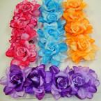 "4 Pk 2.5"" Silk Flower w/ Glitter on Gator Clip  .56 per set"