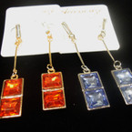 "3"" Gold/Sil Acrylic Stone Fashion Earring Asst Colors .50 ea"