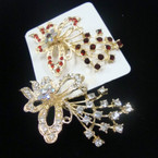"Fabulous Value 3"" Cast Gold Butterfly Broach w/ Loads of Crystals .57 ea"