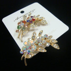 "Fabulous Value 2"" Cast Gold Flower Style Broach w/ Loads of Crystals .57 ea"