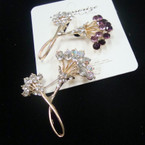 "Fabulous Value 2"" Gold DBL Flower Style Broach w/ Loads of Crystals .57 ea"