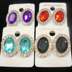 "1"" Oval Gold/Sil Frame Earring w/ Crystal Stone Egde & Oval Stone .54 ea"