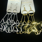 "3"" Gold & Silver Star Theme Earrings .52 ea"