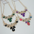 "16"" Gold Chain Statement Necklace Mixed Color Stones .56 ea"