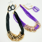 "18"" Multi Strand Seed Bead Necklace Set w/ Gold Rings .56 ea set"