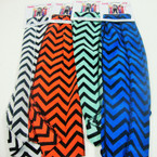 """7"""" X 52"""" Polyster Asst Color Chevron Print 3 in 1 Scarf 6 colors .54 ea"""